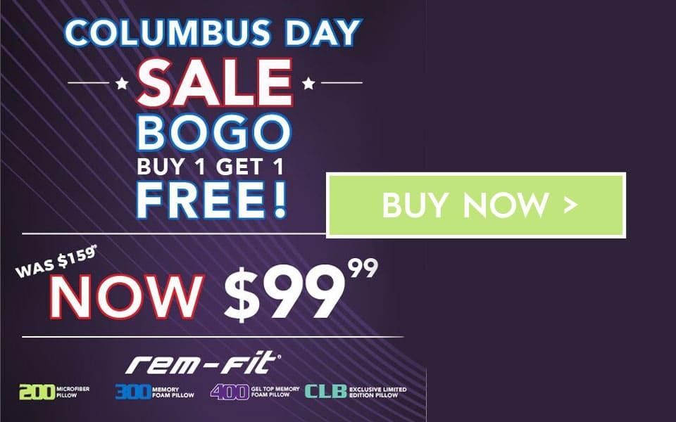 Columbus Day Sale - Buy 1 Get 1 FREE - Rem-Fit Hybrid Pillow Bundle