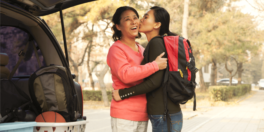 kissing your mom goodbye is at the top of the dormtopper college checklist