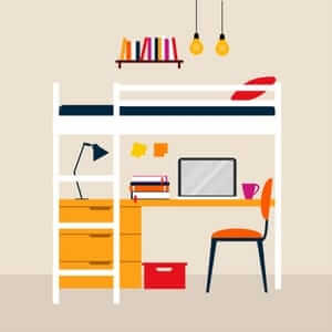 small animated image of a typical college room