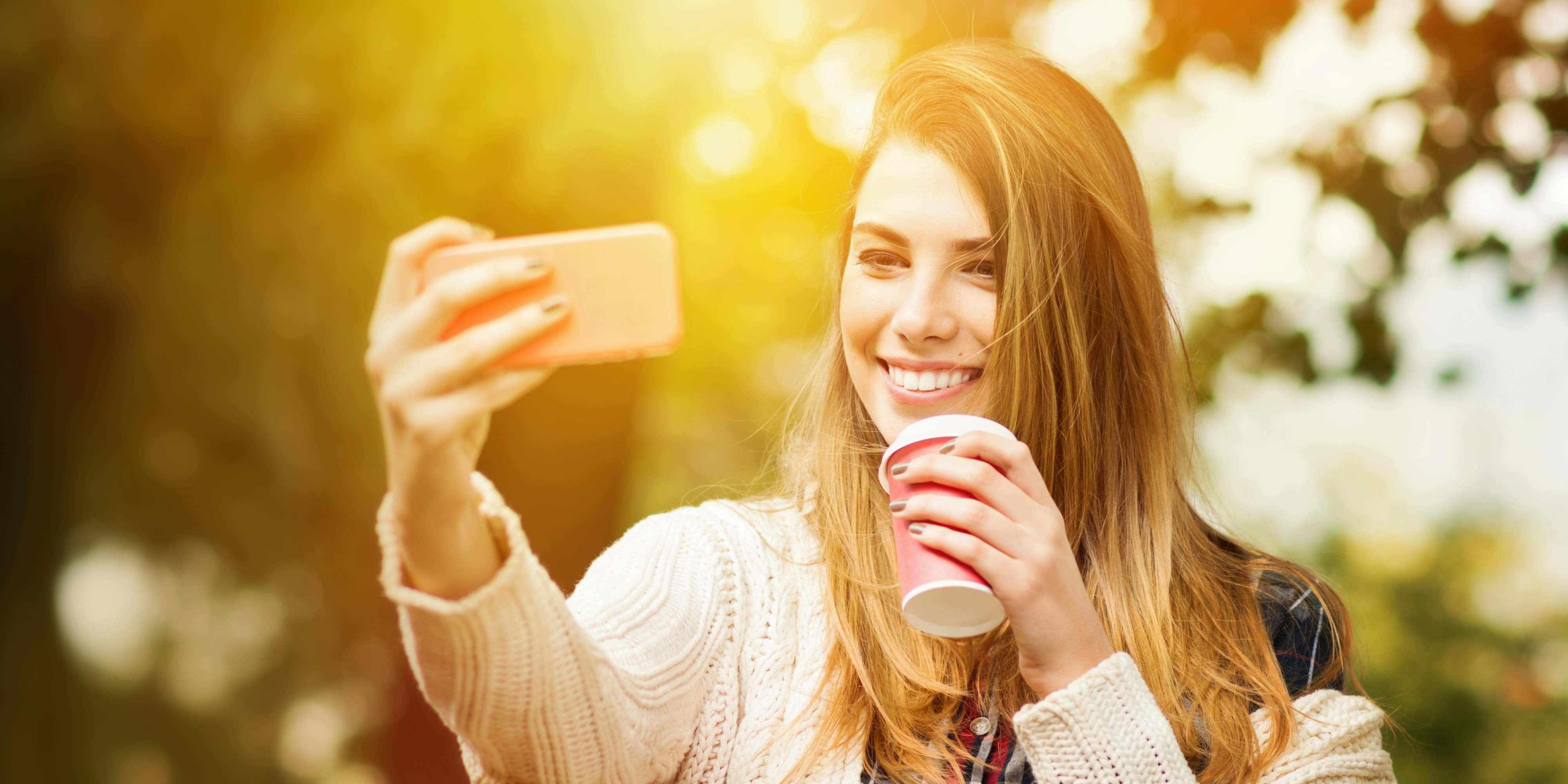 Fall Flavors College DormTopper Girl Taking a Selfie