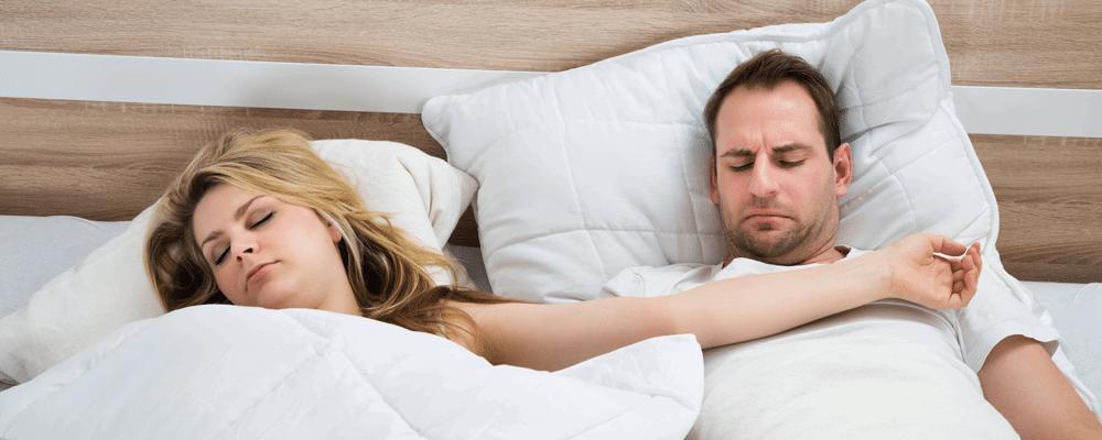 sleeping in separate beds